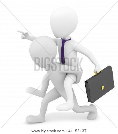 3D Small Person Carries On His Back Businessman