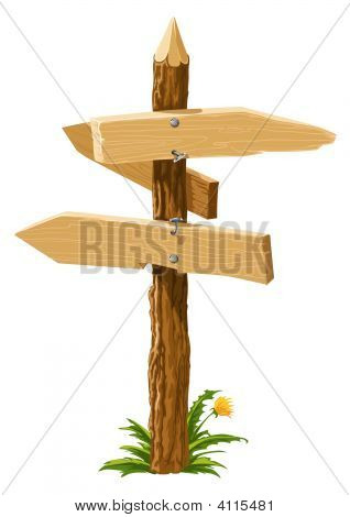 Wooden Direction Arrows On The Crossroads
