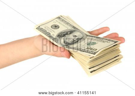 Stack of one hundred dollars banknotes in hand close-up isolated on white