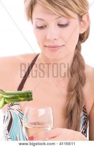 Portrait Of Lovely Girl In Bikini Fill Winglass By Wine