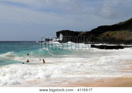 Obama's Bodysurfing Location, Sandy Beach And Blowhole