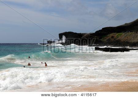 Obama's Bodysurfing Location, Sandy Beach And Blowhole
