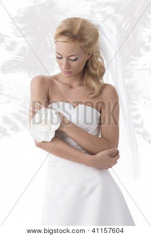 Pretty Blonde Bride Looks Down