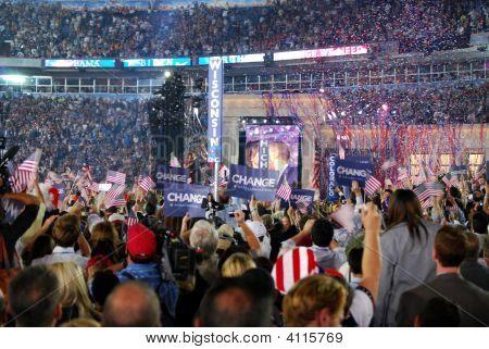 Barack Obama On Stage In Denver