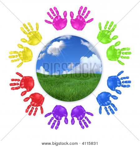 Global Concept Of Children'S Handprints Around The World