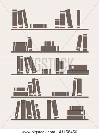 Books on the shelf simply retro vector illustration
