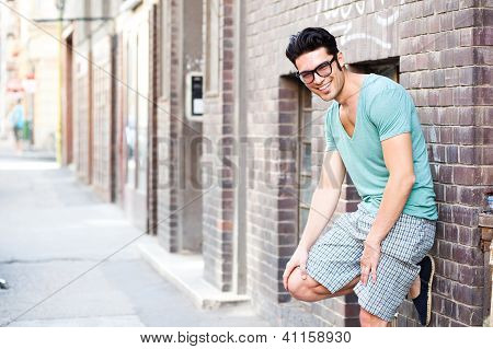 Handsome Man Smiling On The Street