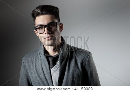 Attractive Man Dressed Casual Wearing Glasses - Studio Shot, Copy Space