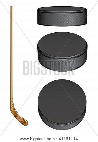 Ice Hockey Stick And Pucks