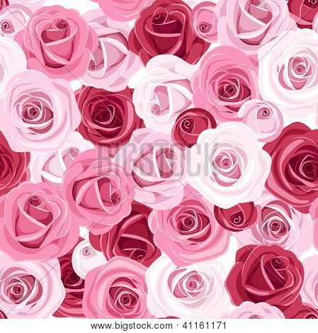 Seamless background with colored roses. Vector illustration.