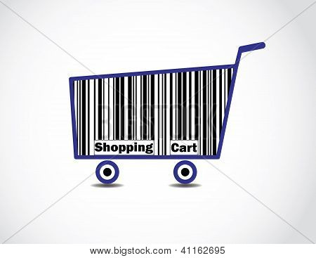 Bar Code Shopping Cart Illustration