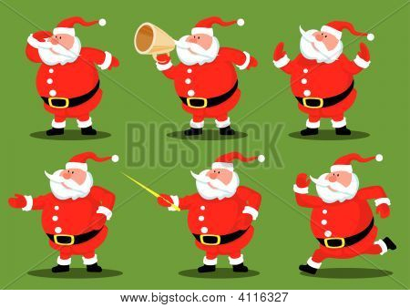 Six Cartoon Santas.eps