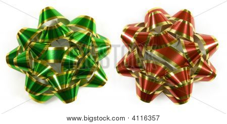 Green And Red Striped Bows