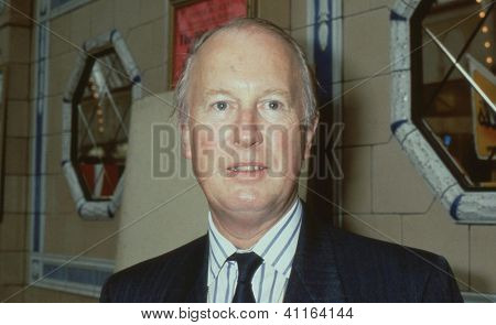 BLACKPOOL, ENGLAND - OCTOBER 10: Michael Shersby, Conservative party Member of Parliament for Uxbridge, attends the party conference on October 10,1989 in Blackpool, Lancashire. He died in May 1997.