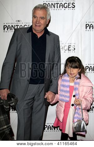 LOS ANGELES - JAN 15:  John McCook, granddaughter Charli arrives at the opening night of 'Peter Pan' at Pantages Theater on January 15, 2013 in Los Angeles, CA