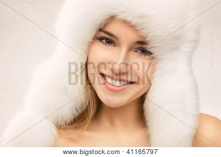 Fashion Portrait Of Young Beautiful Woman Posing On White Background