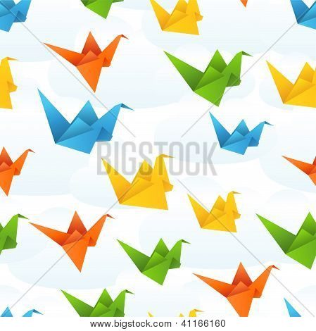 Origami paper birds flight abstract background.