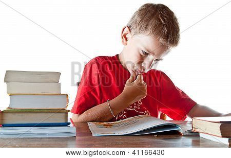 Back To School: A Little Boy And His Homework