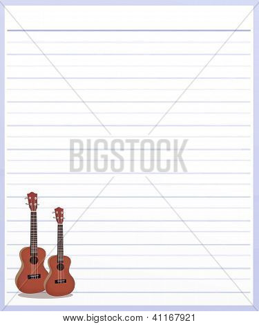 Two Guitar On Purple Color Lined Paper