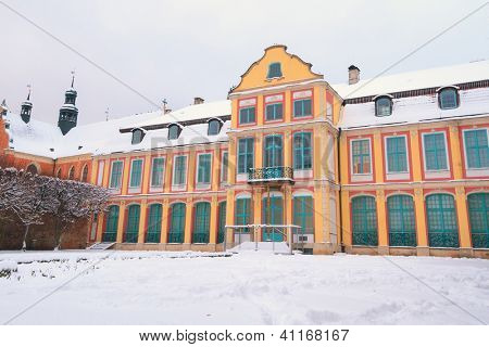 Winter scenery of Abbots' Palace in Oliwa, Gdansk, Poland