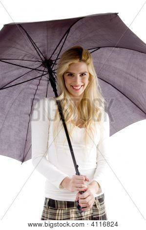 Front View Of Happy Woman With Umbrella
