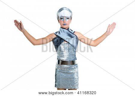 children futuristic fashion children girl silver makeup and open hands on white