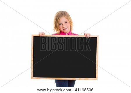 blond child kid happy girl holding blank black blackboard copy space on white