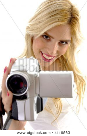 High Angle View Of Happy Woman With Handy Cam