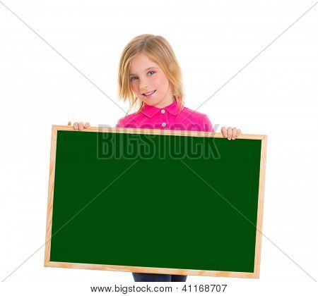 blond child kid happy girl holding blank green blackboard copy space on white