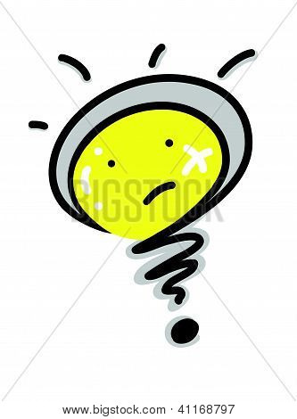 Cartoon of A Light Bulb Question Mark