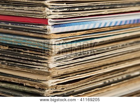Stack of Vintage Vinyl Records