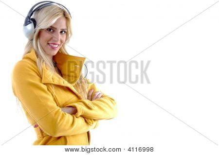Side Pose Of Woman Listening Music