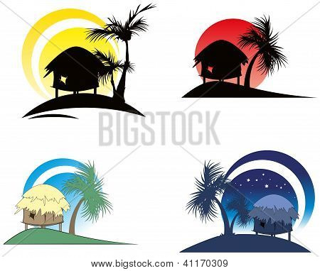 Tropical Huts With Palm Tree