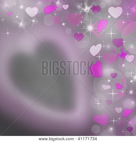 Gray Abstract Background With Pink Hearts Of Valentine