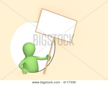 3D Puppet With The Blank Poster