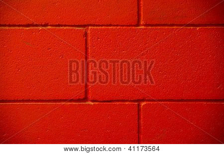 Three Lines Red Brick Concrete Painted Wall
