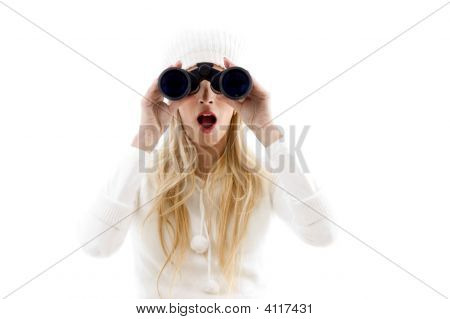 Front View Of Amazed Woman Looking Through Binoculars
