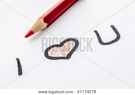 Love Message And On A White Paper
