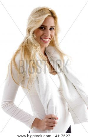 Front View Of Smiling Woman With Towel