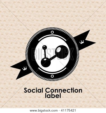 Vintage retro label | tag | badge : social connections icon