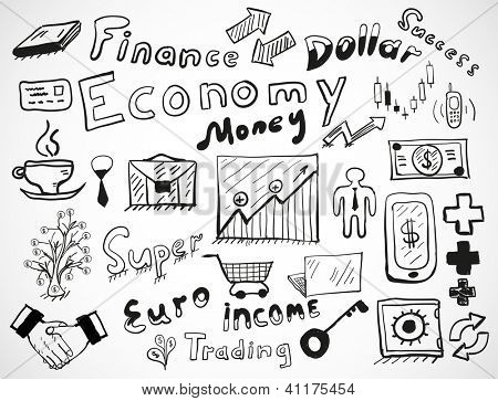 Vector tablet-drawn vector doodles: business and finance theme