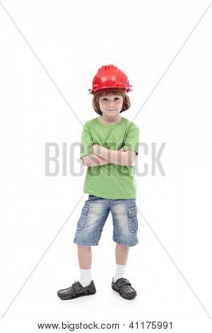 Proud boy with his father hard hat - role models in childhood