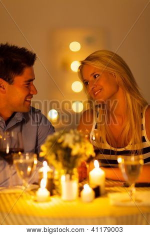 young couple enjoying candlelight dinner in a restaurant