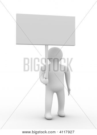 Person Hold A Banner On White Background. 3D Image