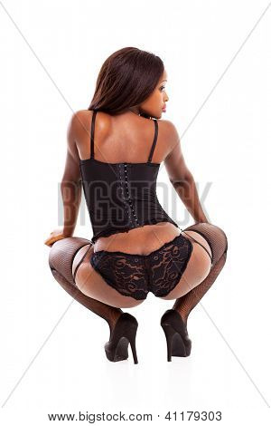 rear view of african american woman in lingerie