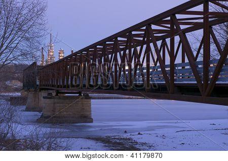Rock Island Swing Bridge At Dusk