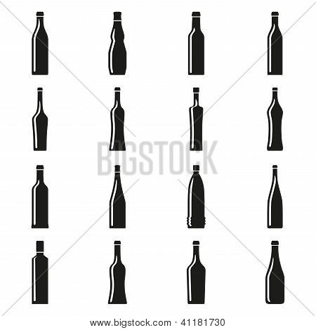 Set of bottles silhouettes