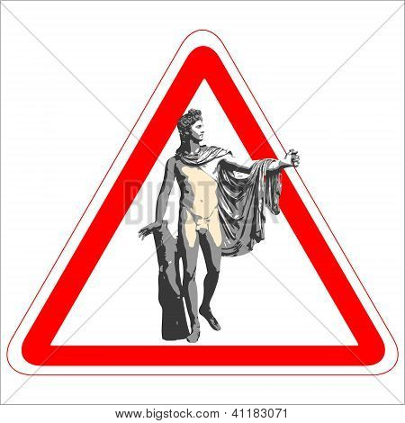 Warning Sign With The God Apollo.eps