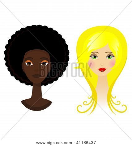 Two Vector Portraits - Blonde And Afro Woman