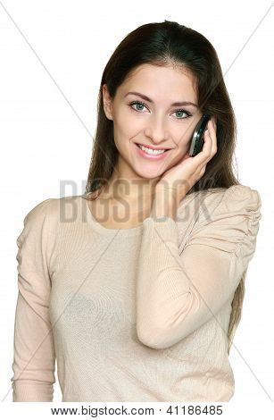 Young Smiling Woman Talking Mobile Phone Isolated On White Background